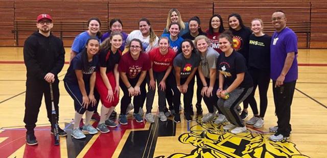 Newport Softball 2018 practice group